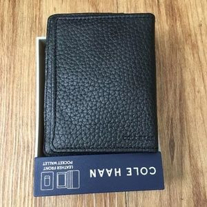 COLE HAAN Pebbled Leather Front Pocket Wallet